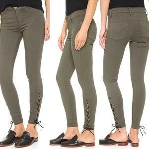 Hudson Nix Lace Hem Crop jeans in olive 30.    054
